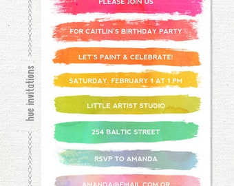 paint party invitation, art party birthday invitation, rainbow paint and celebrate painting party, girls birthday invitation, printable file
