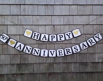Happy Anniversary Banner, 50th Anniversary Garland Bunting, 50th Anniversary Party Decor, Anniversary Sign, Gold Glitter Hearts  Anniversary