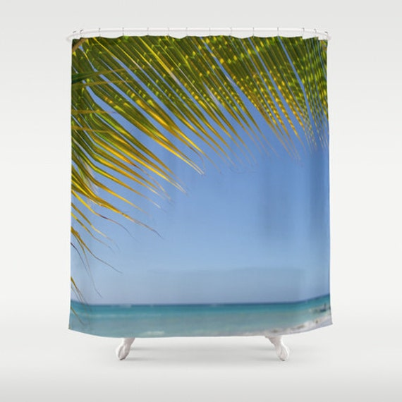Shower Curtains Ocean Photography Palm Tree Blue And Green