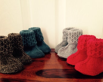 Knitted Baby booties / boots handmade