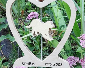 Custom wooden pet memorials handcrafted on a scrollsaw
