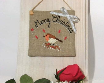 Merry Christmas Sign- Holiday Decor- Christmas Decor- Christmas Robin-Christmas Decoration.