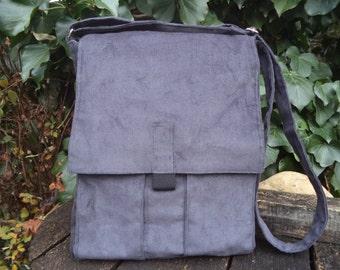 Gray corduroy messenger bag