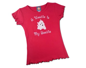 Girl's Westie Dog Shirt 'My Westie is My Bestie' with Appliqué Westie Dog