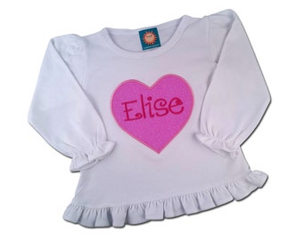 Girl's Valentine Shirt with Glitter Heart and Embroidered Name