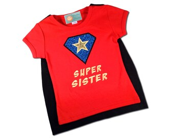 Girl 'Super Sister' Shirt with Name and Matching Cape