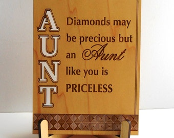 Plaque Gift for Great Aunt, Auntie Thank You Gift, Diamonds May be Precious but An-Aunt Birthday-Christmas-Gift for Special Aunt, PLA009