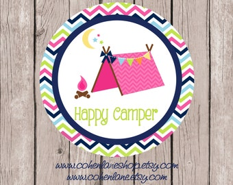 Instant Download Printable Happy Camper  Tshirt Transfer Design. Chevron Iron On.  Glamping iron on.  Glamping.  Happy Camper.  Printable.