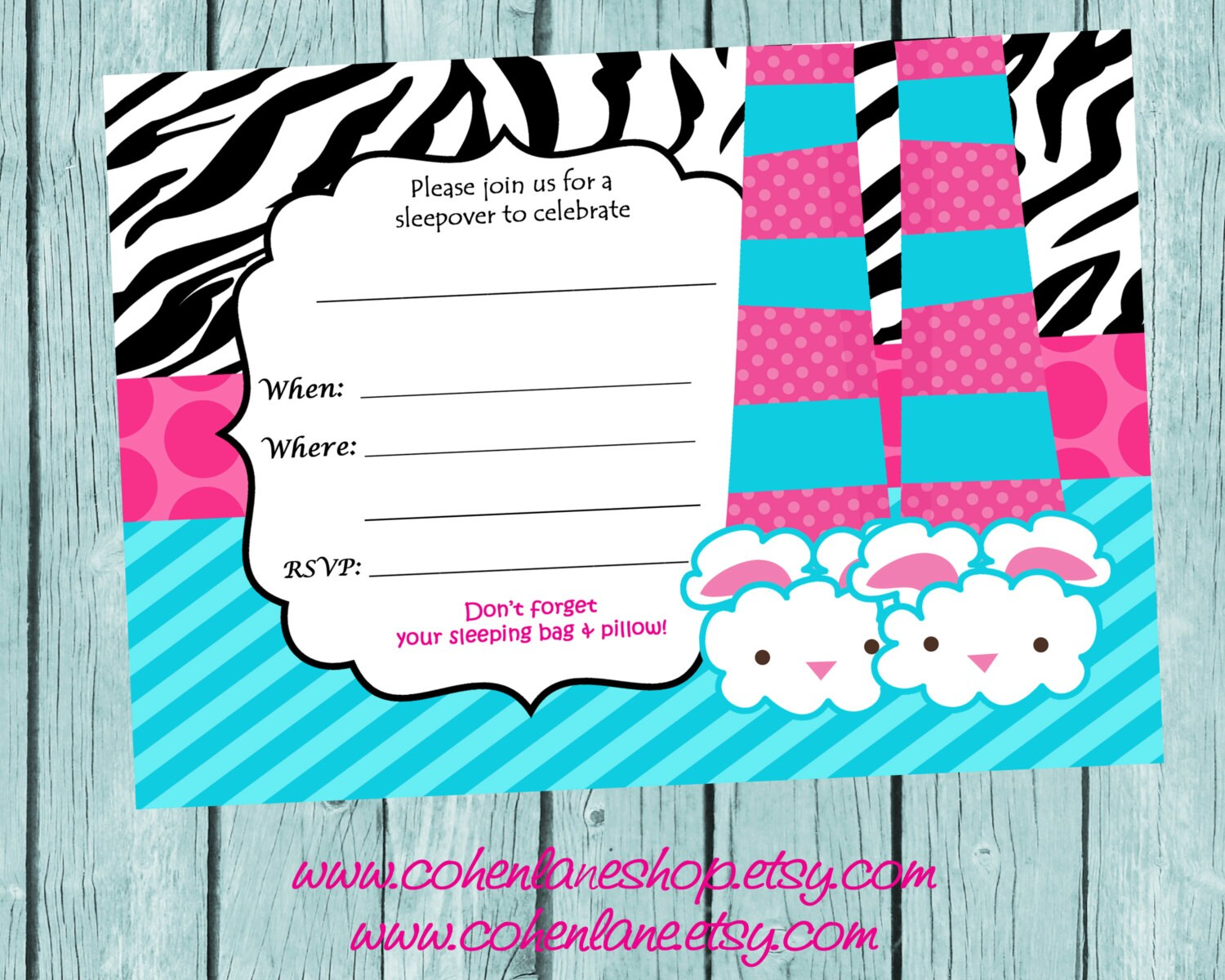 Instant Download Fill In Sleepover Party Invitation. Fill in
