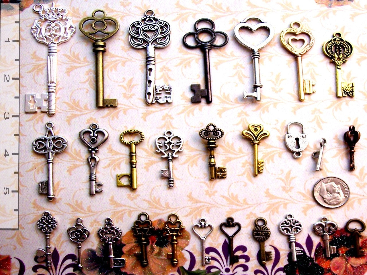 62 Steampunk Skeleton Keys Large Medium & Small Brass Charms Wedding Beads Supplies Pendant Set Collection Reproduction Vintage Antique steampunk buy now online