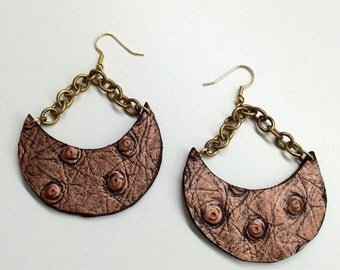 Bronze Crescent Ostrich Embossed Leather Earrings