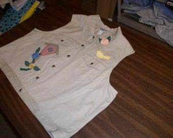 Ladies 24W Khaki Vest  by Hiaks with 2 Yellow Birds & 2 Birdhouses  Appliqué by Emanuel's Wearable Art