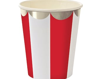 Meri Meri Red Striped Paper Cups with Silver Scallop (8), Red and White Paper Cups, Toot Sweet Cups, Patriotic Circus Carnival Birthday