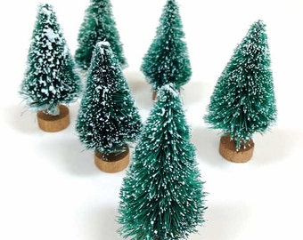 "Miniature Bottle Brush Trees (5), 2.5"" Sisal Tree, Bottlebrush Tree, Christmas Tree, Woodland Craft Supply, Mini Xmas Tree, Green Mini Trees"