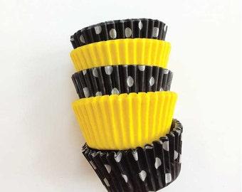 50 Bumble Bee Mini Cupcake Liners - Yellow and Black Dot Miniature Cupcake Papers Mix
