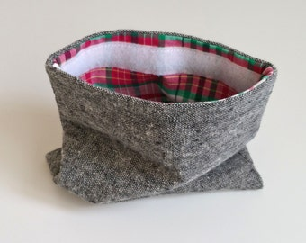 Cotton Chambray & Madras Lined Pouch