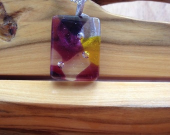 Mosaic fused glass necklace