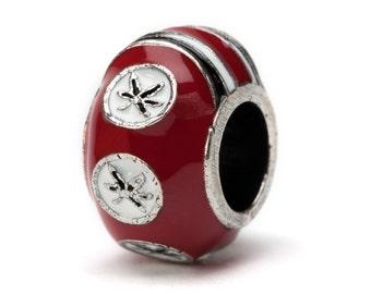 Ohio State Buckeye Jewelry Scarlet Six Leaf Buckeye Charm Bead