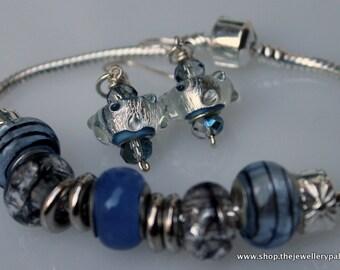 Monaco Blue Charm Bead Bracelet and Earrings Set