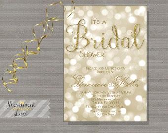 Gold Glitter, Bokeh, Bridal Shower Invitation, Shower Invitation, Printable, DIY, Printable or Printed - Genevieve Collection