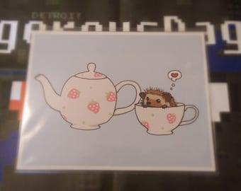 Hedgehog Tea Time 8.5 x 11 Prints!
