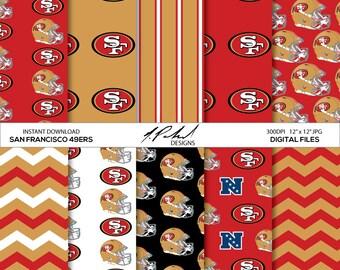 San Francisco 49ers Instant Download Digital Paper Pack - Digital Files - Fan Art - Digital Paper - JPG Files - Printables