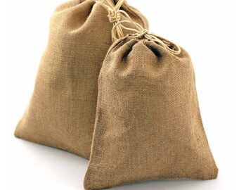 Burlap Favor Bags Natural Jute Fiber with Drawstring, 12-pack