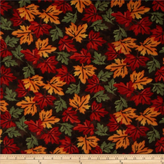 fall leaves fleece fabric by the yard by reneeschoicefabrics. Black Bedroom Furniture Sets. Home Design Ideas