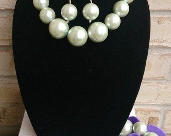 Oversize Metallic Pearl Necklace, Bracelet, and Earring set