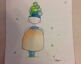 Whimsical watercolor girl