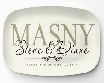 Personalized Serving Tray, Ivory Family Name Platter, Personalized Melamine Platter, Personalized Serving Platter, Wedding Gift Platter