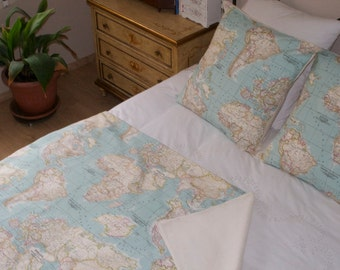 World Map Bedding set of 3 - World Map Blanket - 2 Map Cushion covers - Map Bedding -  Blue Blanket - Sofa decor. Bed decor. Traveler gift.