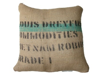 Cushion Vietnam Coffee, letters in black, with green stripe, made with recycled coffee sack fabric. Ecologic. Insert included.