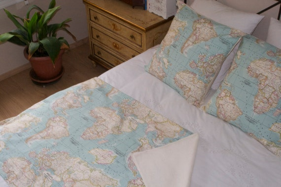World map bedding map set of 3 1 blanket and 2 cushions like this item gumiabroncs Images