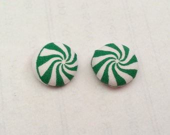 Green Peppermint Christmas Button Fabric Earrings- Christmas Button Fabric Earrings- Christmas Earrings- Fabric Button Earrings- Christmas