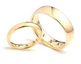 18ct Gold Roman Numeral Date Engraved Wedding Rings