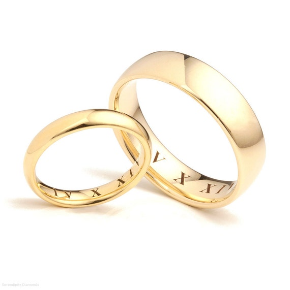 Roman Numeral Wedding Bands: 18ct Gold Roman Numeral Date Engraved Wedding Rings