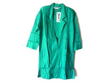 Vintage 80s Long Blazer, Long Sleeve Blazer Jacket, Kelly Green Blazer, Back Pleated Blazer, Zashi New Old Stock, Size Small