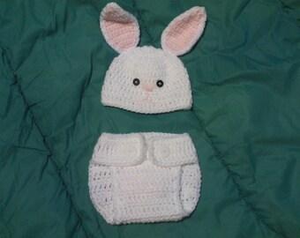Crochet Bunny hat & diaper cover