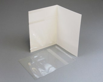 5 x 7 Clear slip covers for 5 x 7 inch cards in quantities of 10, 25, 50 or 100, covers 1 page
