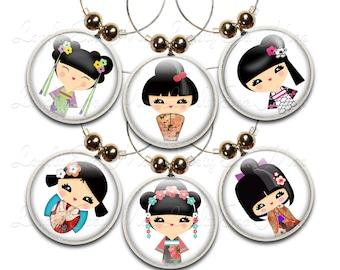 Wine Glass Charms, Kokeshi Doll, Set of 6, Kokeshi Doll Charm, Wine Glass Jewelry, Wine Charm, Wine Glass Charm, Japanese, Oriental, Asian