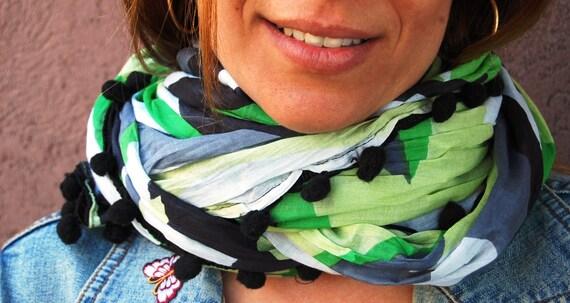 Cute infinity scarf, Women & Men Bohemian Scarves, Soft Pattern, Knit Scarf, Print Scarf, Cotton Fashion, Fall Design, Gift