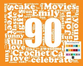 Personalized 90th Birthday Gift Word Art 90th Birthday Ninety Birthday Unique Fun Cute 8 X 10 Digital Download .JPG