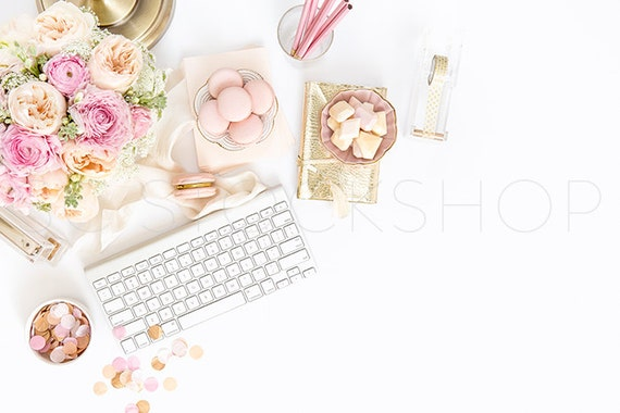 Styled Stock Photography | Gold and Blush Pink Styled Desktop | Product Photography | Digital Image