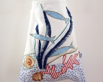 Cotton bag with hand sewn applications - Underwater World - Unique Item