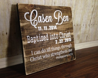 Personalized Baptism Gift - Rustic - Baptism Gift - Wood Sign