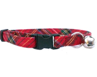 METALLIC Red Plaid Winter Christmas Holiday Breakaway Safety Collar Cat or Kitten