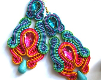 Soutache Earrings  ,soutache jewelry in ethnic, handmade earrings