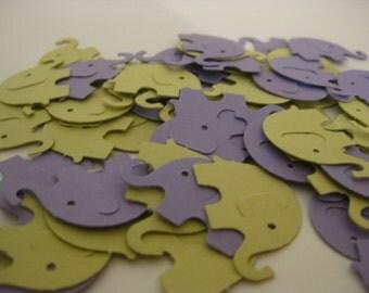 Elephant Confetti, Baby Shower Confetti, Green and Purple Party Confetti