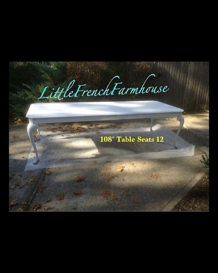 Sold 108 painted dining table huge seats 12 for 108 table seats how many